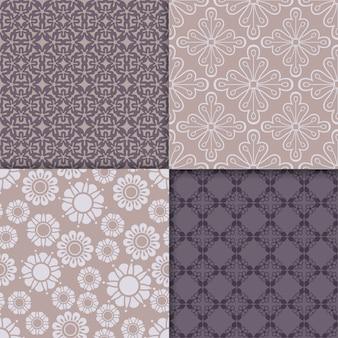 Conjunto de padrão geométrico de violeta e serenidade