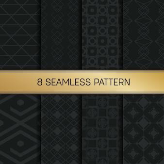 Conjunto de padrão geométrico monocromático.