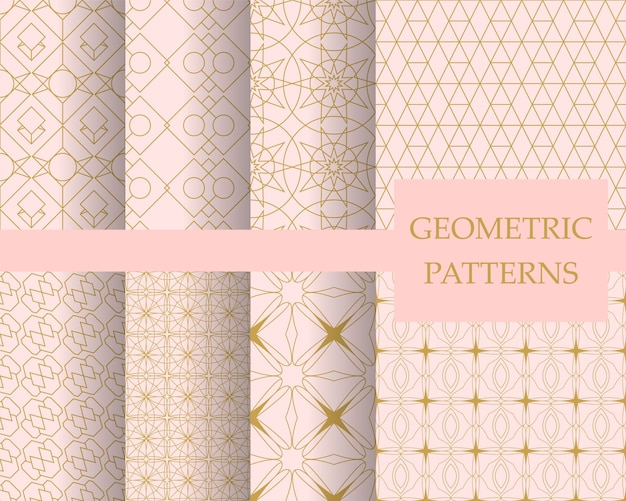 Conjunto de padrão geométrico pastel de luxo, papel de parede decorativo