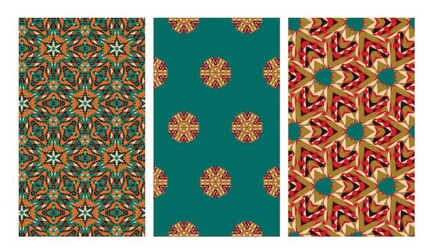 Conjunto de padrão geométrico sem costura em estilo africano