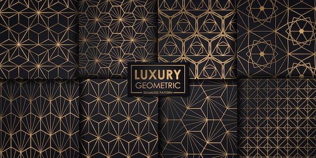 Conjunto de padrão geométrico sem costura luxo