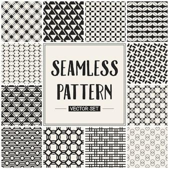 Conjunto de padrão geométrico sem costura monocromático.