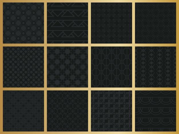 Conjunto de padrão geométrico sem costura monocromático