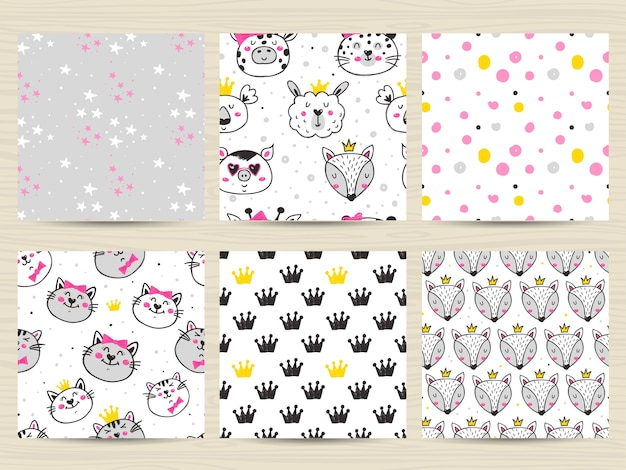 Conjunto de padrão infantil sem costura com gatos, raposas, lhamas e coalas