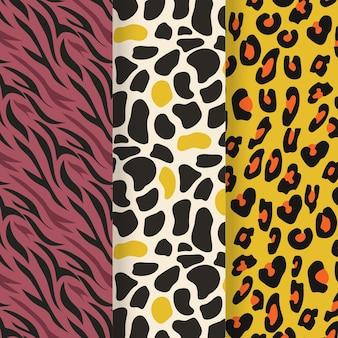 Conjunto de padrão moderno de pele de vida selvagem