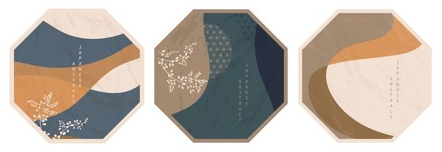 Conjunto de padrão octogonal abstrato oriental japonês