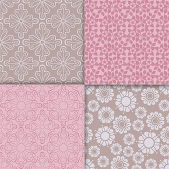 Conjunto de padrão rosa estilo romântico