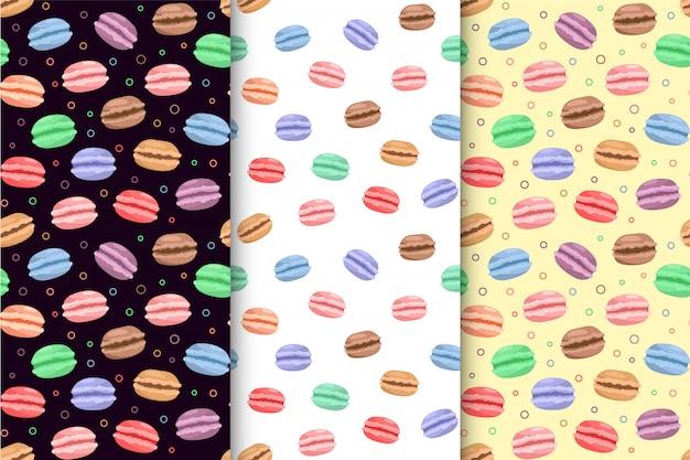Conjunto de padrão sem costura colorido macarons