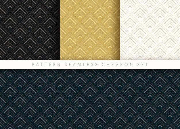 Conjunto de padrão sem emenda chevron onda abstrata fundo listra ouro luxo cor e linha.