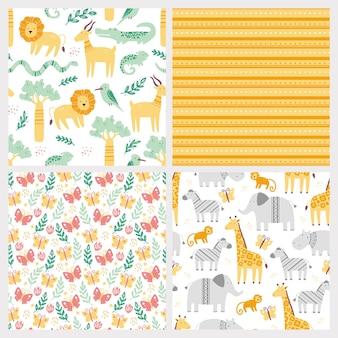 Conjunto de padrão sem emenda com animais bonitos do zoológico africano.