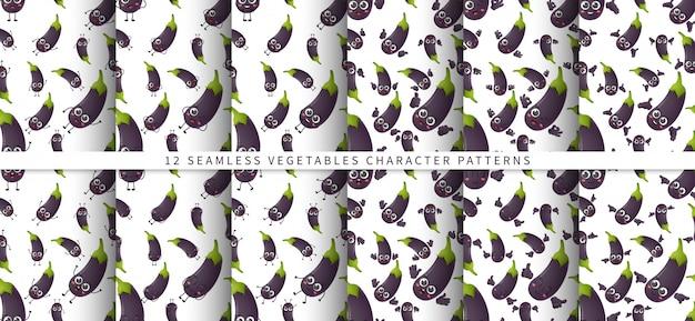 Conjunto de padrão sem emenda com caracteres de legumes berinjela bonito dos desenhos animados isolados