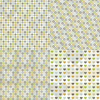 Conjunto de padrão sem emenda com círculos, quadrados, corações e losangos