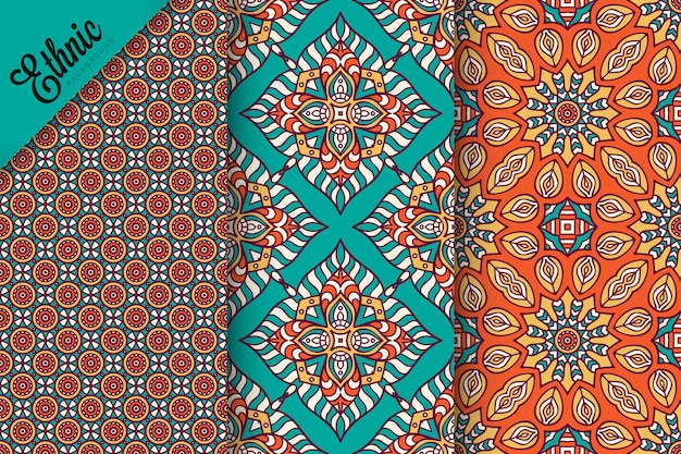 Conjunto de padrão sem emenda com elementos geométricos