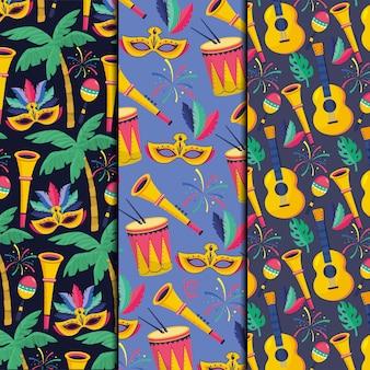 Conjunto de padrão sem emenda com máscara e decoração de trombetas