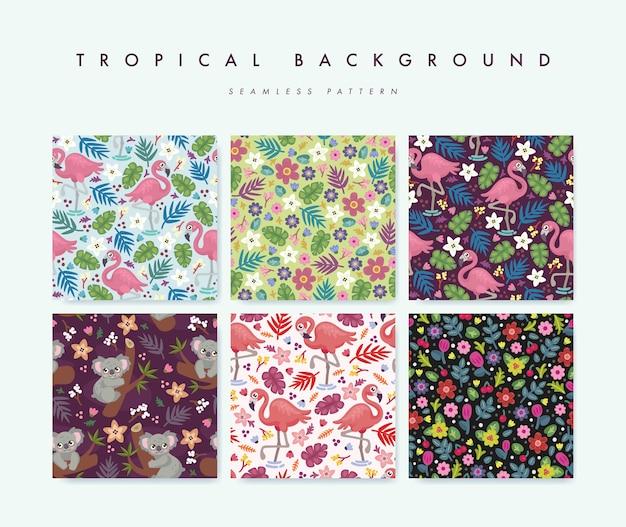 Conjunto de padrão sem emenda com pássaros tropicais, animais e flores