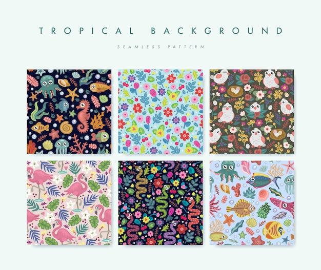 Conjunto de padrão sem emenda com pássaros tropicais, flores e peixes