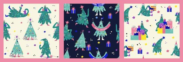 Conjunto de padrão sem emenda com personagens engraçados da árvore de natal decorada com rostos, mãos, pernas. mão-extraídas fundos com pinheiros mostrando emoções. decorações de natal, presentes, festa no pano de fundo.