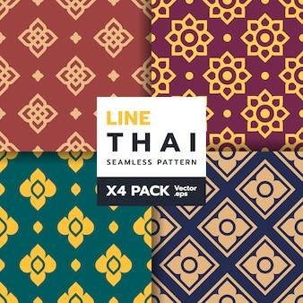 Conjunto de padrão sem emenda de arte tradicional tailandesa em novo estilo
