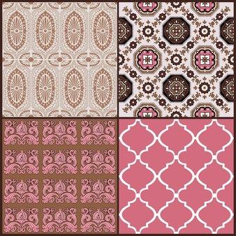 Conjunto de padrão sem emenda de azulejos vintage para papel de parede, pronto para imprimir