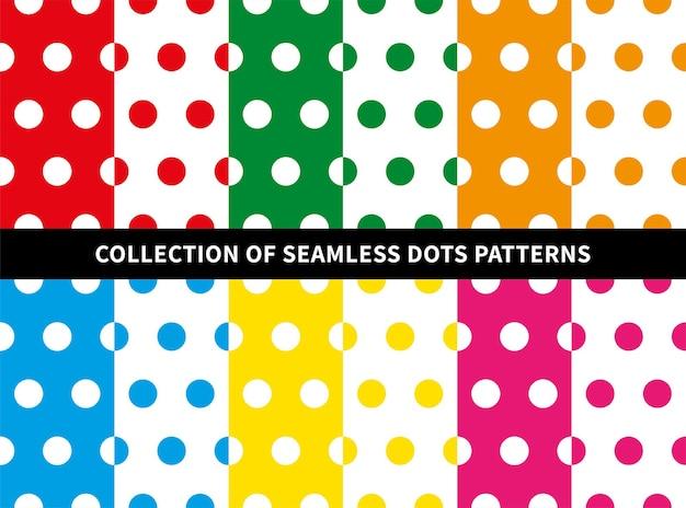Conjunto de padrão sem emenda de bolinhas grandes em fundos coloridos brancos e brilhantes