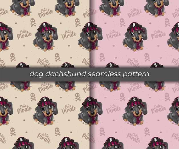 Conjunto de padrão sem emenda de cão dachshund de desenho animado