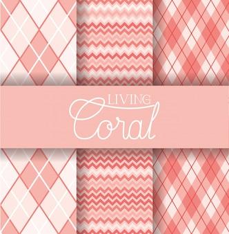 Conjunto de padrão sem emenda de coral vivo