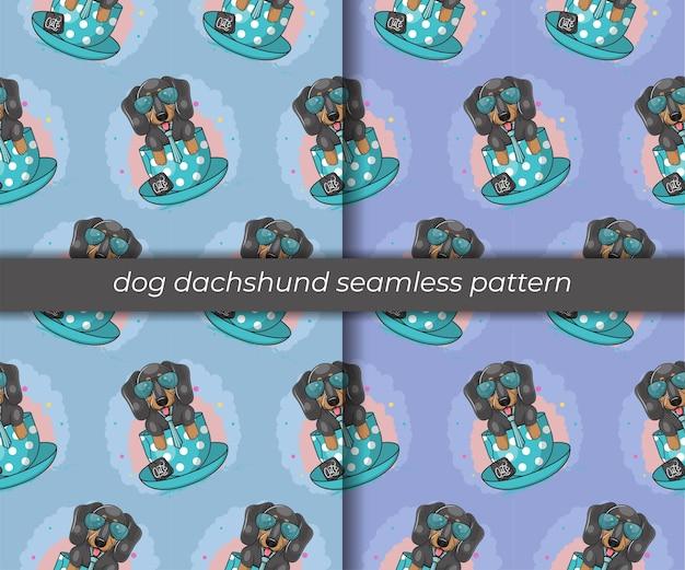 Conjunto de padrão sem emenda de dachshund bonito dos desenhos animados