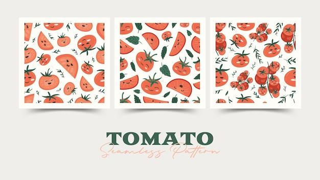Conjunto de padrão sem emenda de desenho de tomate