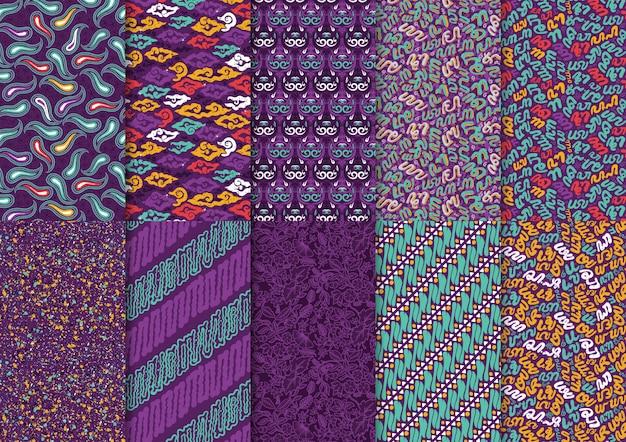 Conjunto de padrão sem emenda de estilo abstrato floral batik indonésia mix