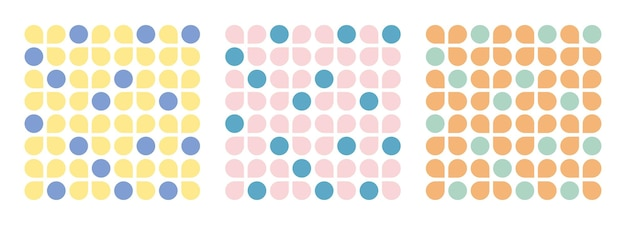 Conjunto de padrão sem emenda de formas florais e circulares contemporâneas de colagem. desenho geométrico moderno para papel, capa, tecido, decoração de interiores e outros usuários.