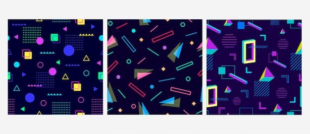 Conjunto de padrão sem emenda de fundo geométrico memphis na moda. resumo padrão moderno.