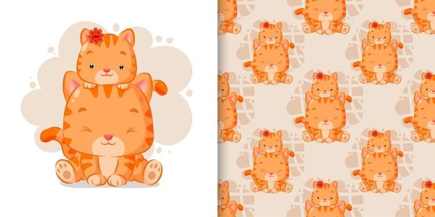 Conjunto de padrão sem emenda de gatinho brincando na cabeça do gato na ilustração de aquarela
