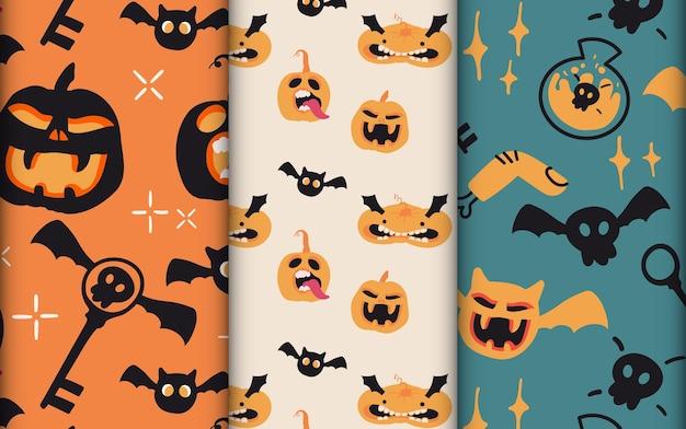 Conjunto de padrão sem emenda de halloween bonito desenhado à mão com abóboras e desenho de morcego