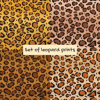 Conjunto de padrão sem emenda de leopardo ou onça-pintada.