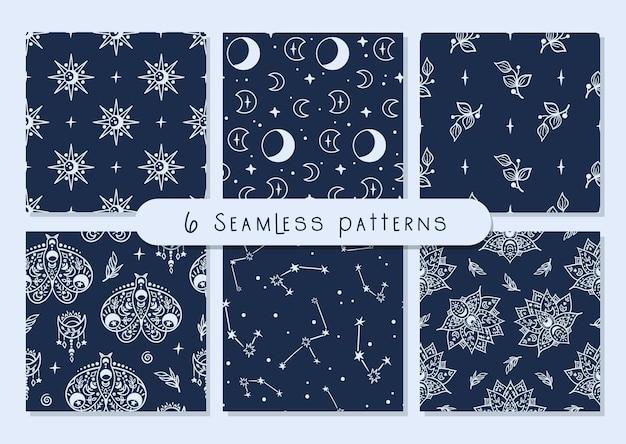 Conjunto de padrão sem emenda de lua celestial preta e branca, borboleta, lótus, estrelas