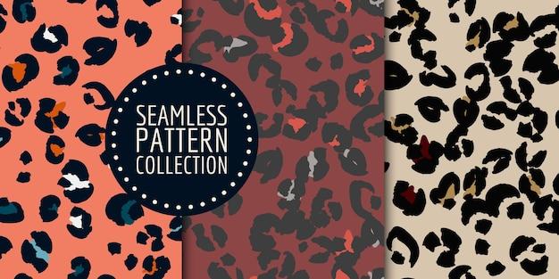 Conjunto de padrão sem emenda de manchas de leopardo desenhadas à mão