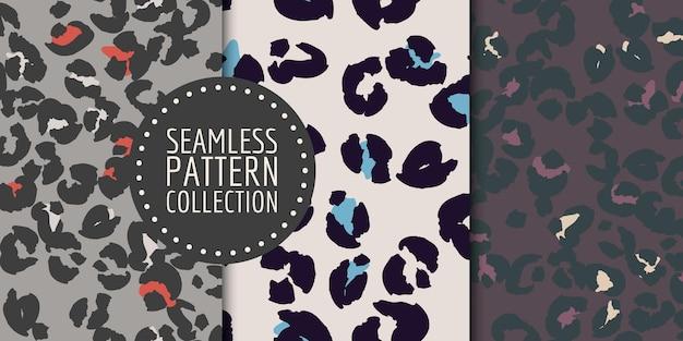 Conjunto de padrão sem emenda de manchas de leopardo desenhado à mão