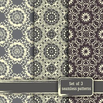 Conjunto de padrão sem emenda de mandala floral