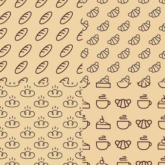 Conjunto de padrão sem emenda de padaria