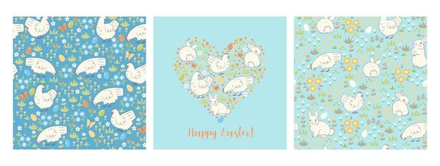 Conjunto de padrão sem emenda de páscoa e cartão com coelhos e galinhas.