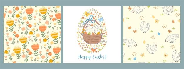 Conjunto de padrão sem emenda de páscoa e cartão com galinhas, ovos e flores.