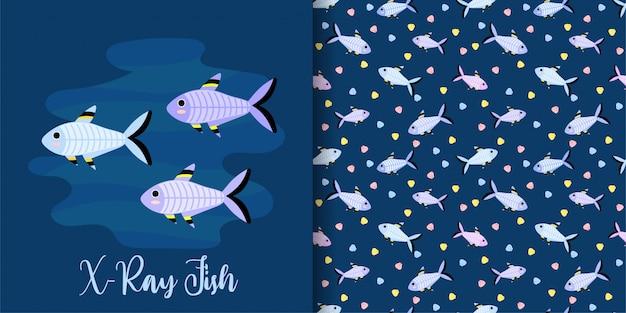 Conjunto de padrão sem emenda de peixe de raio-x dos desenhos animados