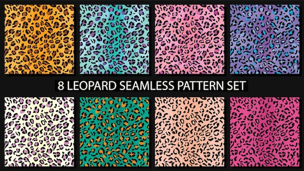 Conjunto de padrão sem emenda de pele de leopardo