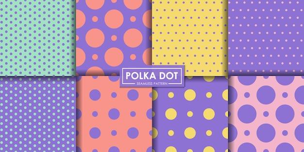 Conjunto de padrão sem emenda de polkadot pastel.