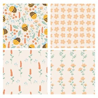Conjunto de padrão sem emenda de primavera. abelhas engraçadas do kawaii com flores de doodle. cores pastel.