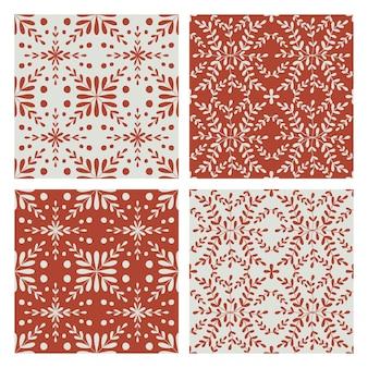 Conjunto de padrão sem emenda de telha. fundo geométrico azul e vinoso. ornamento floral de repetição tradicional. coleção de padrão monocromático de vetor. impressão vintage abstrata para tecido, embalagem.