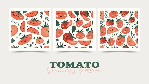 Conjunto de padrão sem emenda de tomate