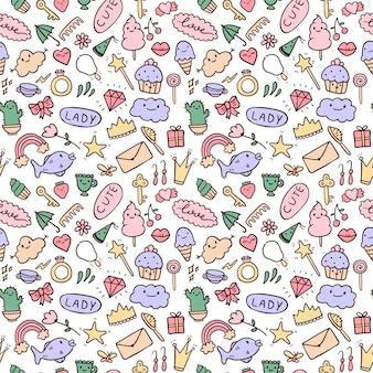 Conjunto de padrão sem emenda de vetor de ícones de doodle. tema para meninas bonitas, princesa, doces, decorações. todas as imagens são isoladas. adequado para fundos, papel de embrulho.