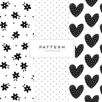 Conjunto de padrão sem emenda desenhado à mão
