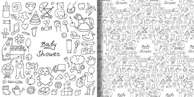 Conjunto de padrão sem emenda e estampa de chá de bebê doodle